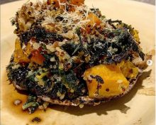 Creamed kale + garlic ginger butternut squash stuffed portobello mushroom caps by livin.ontheveg